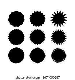 Set of vector starburst, sunburst badges. Black icons on white background. Simple flat style vintage labels, stickers.Special offer sale tag, discount offer price label.