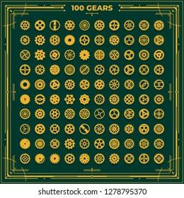 Set of vector steampunk cogwheels victorian era vintage design style clockwork illustration metal geer designs on green background for laser cutting