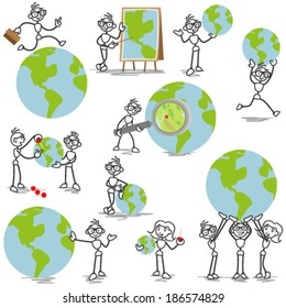 Set of vector stick figures: Business stick man with globe, pins and magnifying glass.