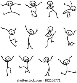 Set of vector stick figures: Happy stick man jumping and celebrating.