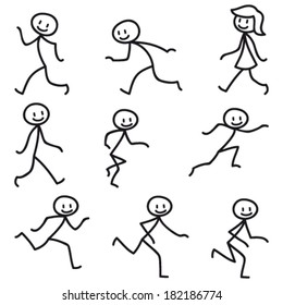 Set of vector stick figures: Happy stick man walking and running.