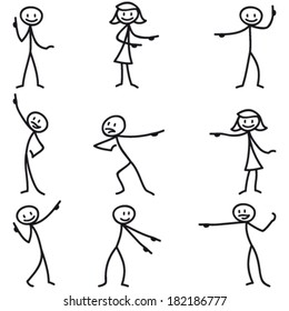 Set of vector stick figures: Stick man pointing and showing directions.