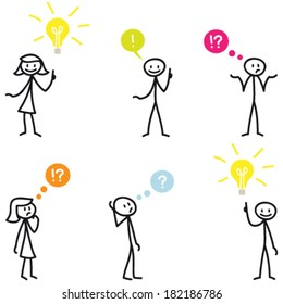 Set of vector stick figures: Stick man having ideas and wondering, with light bulbs and colorful speech bubbles.
