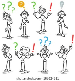 Set of vector stick figures: Stickman with question marks, asking, wondering, pondering.