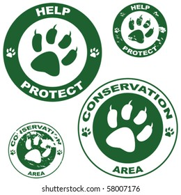 Set of vector stickers with conservation theme and an animal paw outline