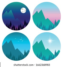 set of vector stickers depicting the highlands