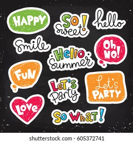 Set of vector stickers, patches with lettering and speaking bubbles