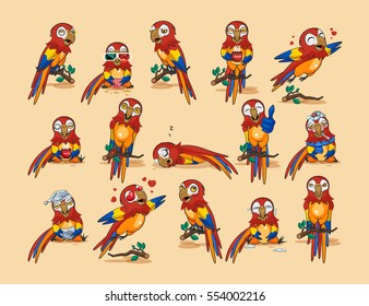 Set Vector Stock Illustration isolated Emoji character cartoon parrot stickers emoticons popinjay with different emotions for site, infographics, video, animation, websites, mail, newsletter, report