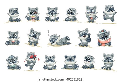 Set Vector Stock Illustrations isolated. Emoji character cartoon raccoon stickers emoticons with different emotions for site, infographics, video, animation, websites, e-mails, newsletters, comics