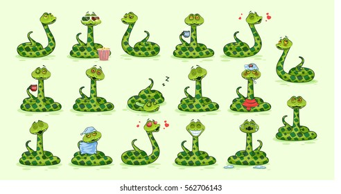 Set Vector Stock Illustrations isolated Emoji character cartoon Snake stickers emoticons with different emotions for site, info graphics, video, animation, website, newsletter, reports, comics