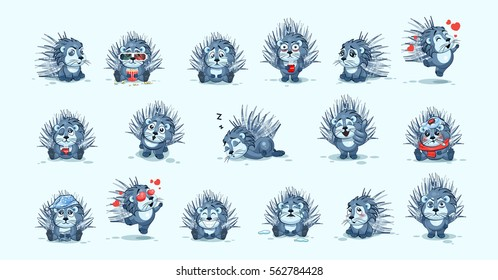 Set Vector Stock Illustrations isolated emoji character cartoon porcupine stickers emoticons with different emotions for site, info graphics, video, animation, website, newsletter, reports, comics