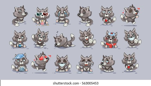 Set Vector Stock Illustrations isolated emoji character cartoon wolf stickers emoticons with different emotions for site, info graphics, video, animation, website, newsletter, reports, comics