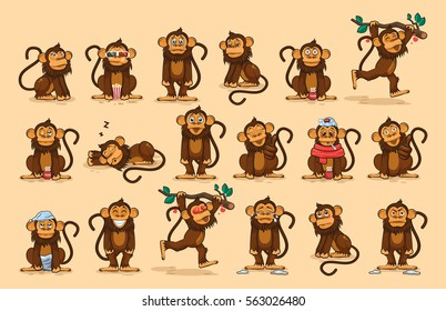 Set Vector Stock Illustrations isolated emoji character cartoon monkey stickers emoticons with different emotions for site, info graphics, video, animation, website, newsletter, reports, comics