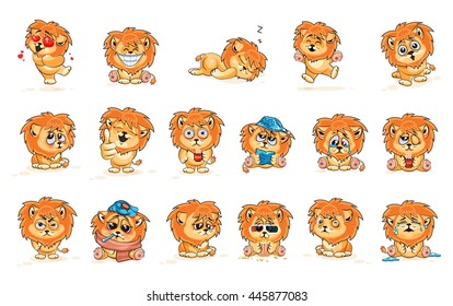 Set Vector Stock Illustrations On a white background isolated Emoji character cartoon Lion cub sticker emoticons with different emotions for site, infographics, animation, mail, newsletter, report