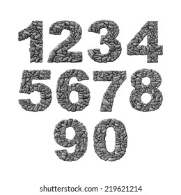 Set of vector stone numerals isolated white background