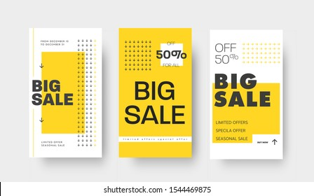 Set of vector story templates for big sale, special offers. Template with yellow and black arrows and text. Design for publishing in mobile applications. social media