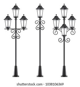 Set of vector street lamps. Black vector lampposts, isolated on a white background.