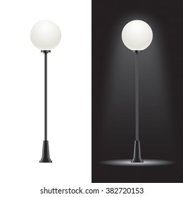Set of vector street lamps. Vector lampposts isolated on background.