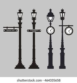 Set of vector streetlight in flat style