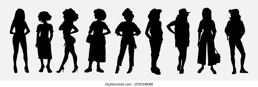 Set Of Vector Students Silhouettes. Collection of stylish young women dressed in trendy clothes.Set of fashionable casual and formal outfits.Vector Image