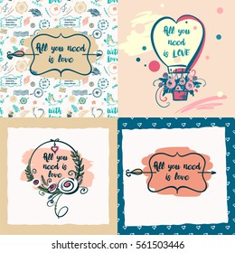 Set of vector stylish illustration with quote about love for greeting cards, posters, valentines day, save the date card