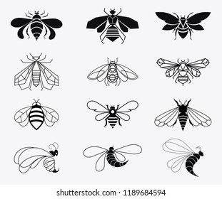 Set of vector stylized bees. Collection of logos with a honey bee. Black and white icons with insects. Tattoo.