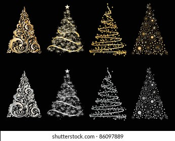 set of vector stylized Christmas tree