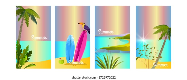 Set of vector summer backgrounds with toucan, surfboard, palms, beach, island, ocean. Tropical vacation concept for social media stories, advertisements, flyers. Paradise illustration in flat style