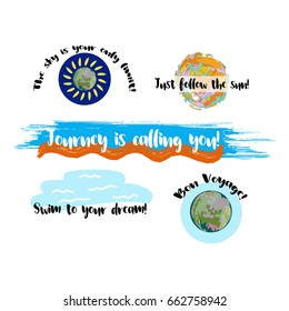 Set of vector summer icons with: Bon Voyage, stay positive, journey is calling you, swim to your dream, summer is here, enjoy the summer. Six positive summer logos, travel, vacation, holidays banners.