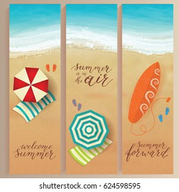 Set of vector summer travel banners with beach umbrellas, waves and surfing board