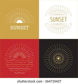 Set of Vector sunset hipster outline logo, sign, sun emblem, wave, ocean, sunshine icon