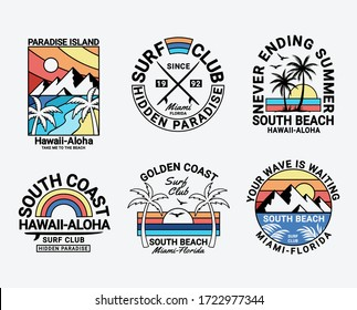 Set of vector surfing badges. For t-shirt prints, posters, and other uses.