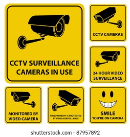 A set of vector surveillance and CCTV camera yellow signs.