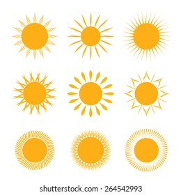 Set of vector symbol of sun