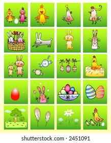 Set of vector symbols - Easter