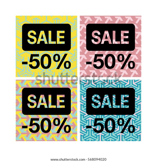 Set of vector tags Sale on different backgrounds