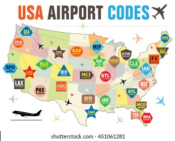 Set of Vector Tags with USA Airport Codes. Vector Illustration for Travelers: Famous American Airport Abbreviations on the Map