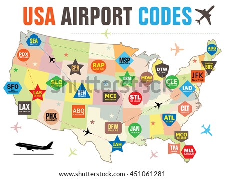 Set Vector Tags Usa Airport Codes Stock Vector Royalty Free
