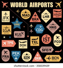 Set of Vector Tags with World Airport Codes. Mix of Airplane Icons, Stars and Colorful Labels. Vector Illustration for Travelers: Famous Airport Abbreviations on Black