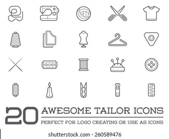Set of Vector Tailoring Tailor Sew Elements and Sewing Knitting Illustration can be used as Logo or Icon in premium quality