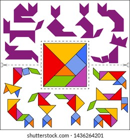 Set of vector tangram puzzles (geometric puzzle) for the development of logical thinking of children and adults. Collection of 7 cats shapes and answer card. Vector illustration