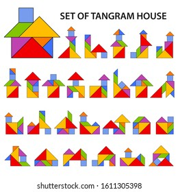 Set of vector tangram puzzles (geometric puzzle) for the development of logical thinking of children and adults. Collection of 27 color shapes of houses and buildings. Vector illustration