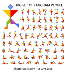 Set of vector tangram puzzles (geometric puzzle) for the development of logical thinking of children and adults. Collection of 72 color people silhouettes. Vector illustration