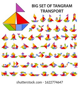 Set of vector tangram puzzles (geometric puzzle) for the development of logical thinking of children and adults. Collection of 55 color silhouettes of transport and ships. Vector illustration