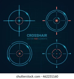 Set of vector targets templates. Crosshair design.   Shooting marks  Game Interface Element. Aims Vector illustration
