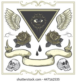 Set of vector Tattoo-art design elements.Wings, roses and skull. Eye of Providence. Hand-drawn vector images. Good for printing on t-shirt. Easy to edit.