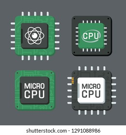 Set of vector tech computer chip icon. Computer processor with text: MICRO CHIP, quantum chip, micro cpu. Chip illustration in flat style.