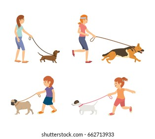 Set vector teenage and kids walking with dogs