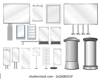 Set of vector templates for design and decoration of billboards and advertising structures for the city and exhibition