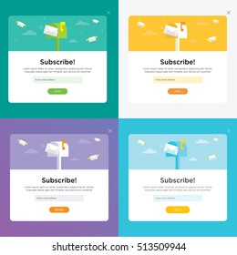 Set vector templates for email subscribe. With flying envelopes and mailbox.